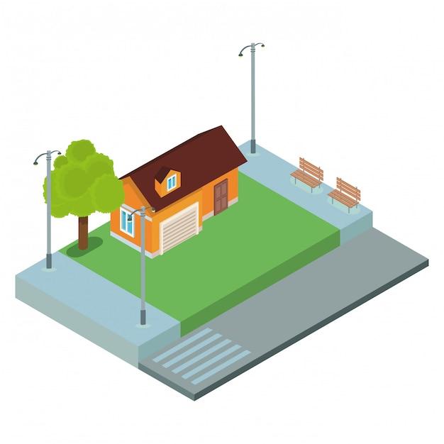 Paysage isométrique de la maison Vecteur Premium