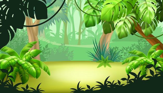 Paysage De Jeu Avec Des Plantes Tropicales. Vecteur gratuit