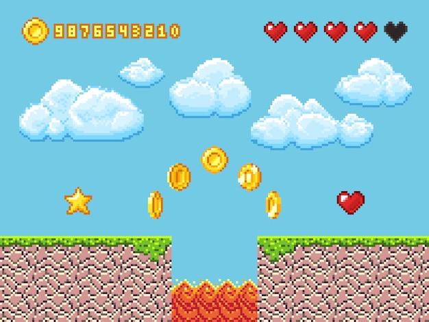 Paysage de jeu vidéo pixel avec des pièces d'or, des nuages blancs et des coeurs rouges vector illustration Vecteur Premium