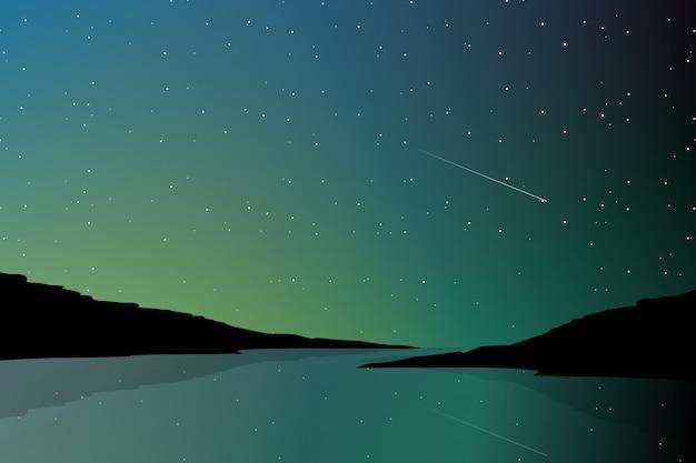 Paysage de lumière nordique et silhouette de montagne Vecteur Premium