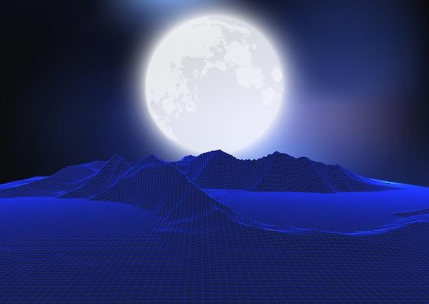 Paysage De Lune Abstraite Avec Terrain Filaire Vecteur Premium