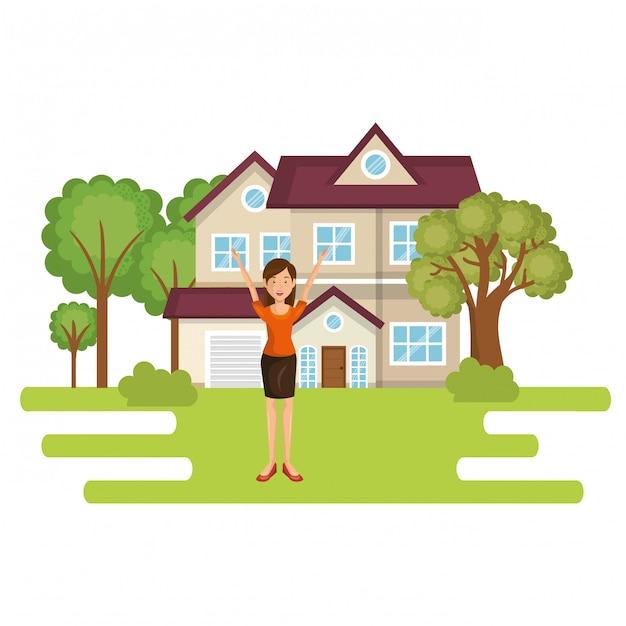Paysage avec maison et femme scène Vecteur gratuit