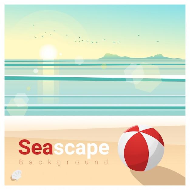 Paysage marin avec plage tropicale le matin Vecteur Premium