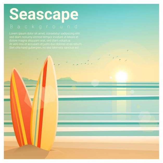 Paysage marin avec des planches de surf sur la plage Vecteur Premium