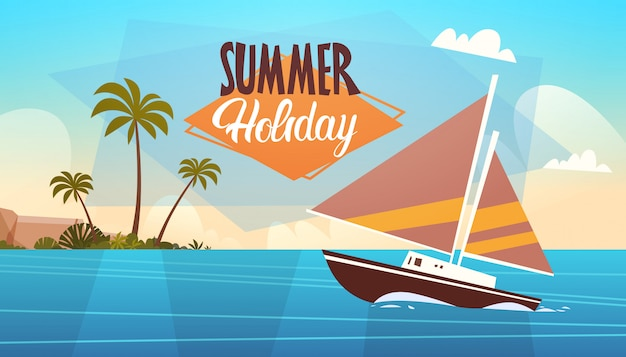 Paysage de mer vacances d'été belle plage paysage marin bannière vacances au bord de la mer Vecteur Premium