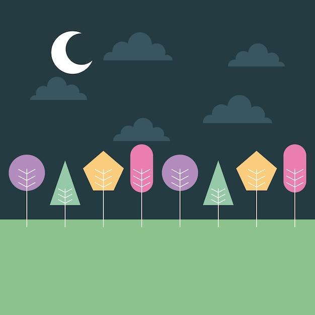 Paysage mignon nuit lune nuages avec des arbres colorés Vecteur Premium