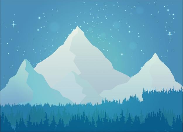 Paysage de montagne enneigée Vecteur Premium