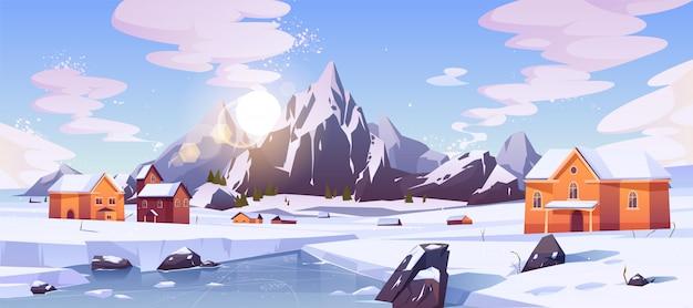 Paysage de montagne d'hiver avec des maisons Vecteur gratuit