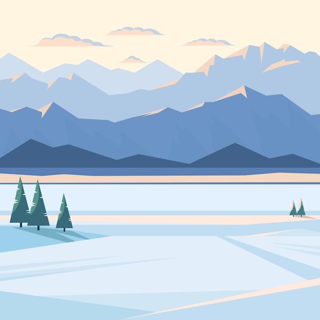 Paysage De Montagne D'hiver Avec De La Neige Et Des Sommets Lumineux Vecteur Premium