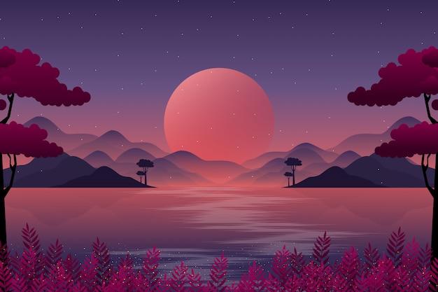 Paysage de montagne avec illustration de ciel nocturne Vecteur Premium