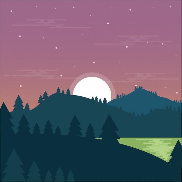 Paysage De Montagne Nuit Lac Forêt Vecteur Premium