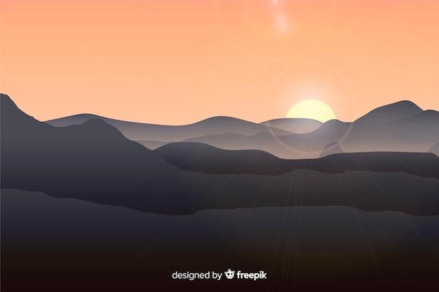 Paysage de montagne avec soleil Vecteur gratuit