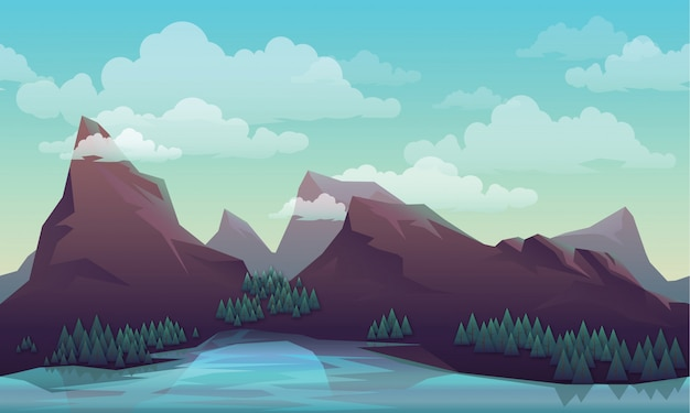 Paysage / montagne / vecteur Vecteur Premium