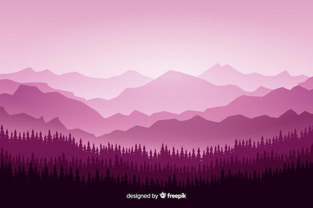 Paysage de montagnes avec des arbres sur des tons violets Vecteur gratuit