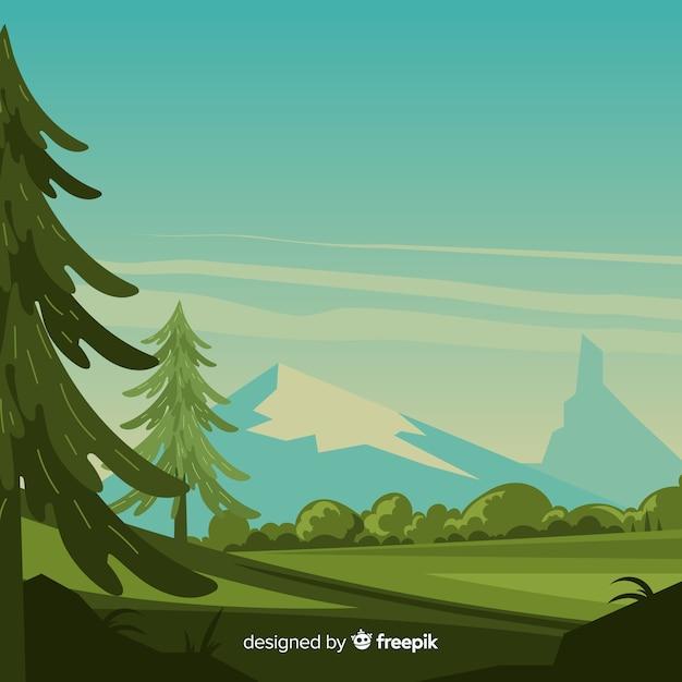 Paysage avec montagnes et arbres Vecteur gratuit