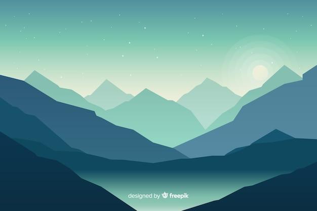 Paysage de montagnes bleues avec lac Vecteur gratuit
