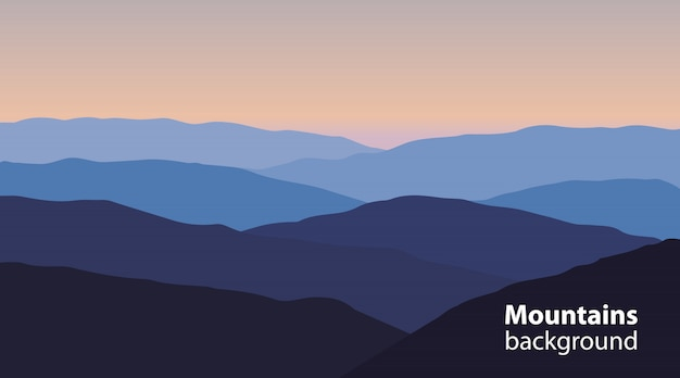 Paysage avec montagnes et collines Vecteur Premium