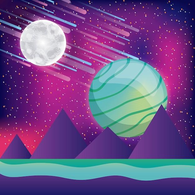 Paysage montagnes lune planète astéroïdes réalité virtuelle Vecteur Premium