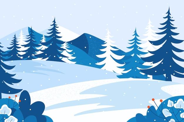 Paysage avec des montagnes de neige et d'arbres Vecteur gratuit