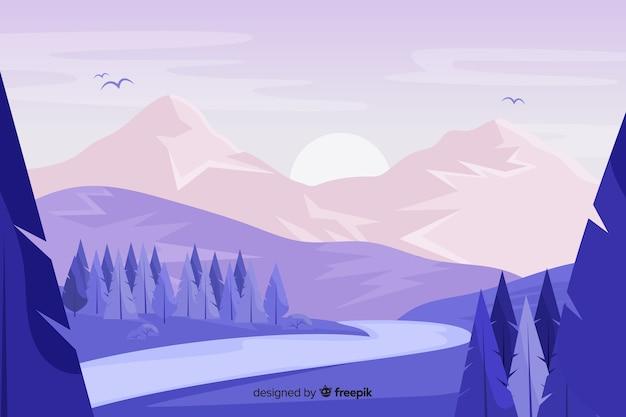 Paysage de montagnes avec pins et coucher de soleil Vecteur gratuit