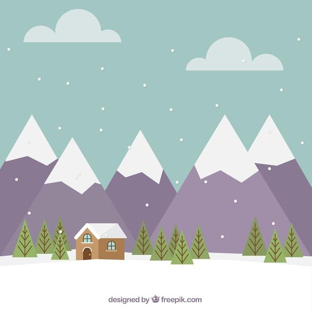 Paysage montagneux fond avec chalet en design plat Vecteur gratuit
