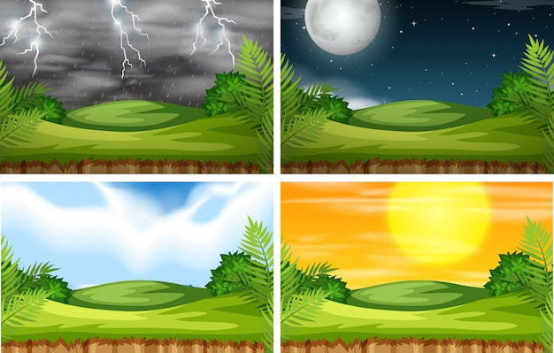 Un paysage de nature avec un climat différent Vecteur Premium
