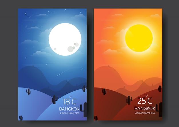 Paysage nature jour et nuit. Vecteur Premium