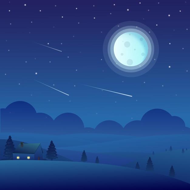 Paysage de nature de nuit avec la maison et la pleine lune Vecteur Premium