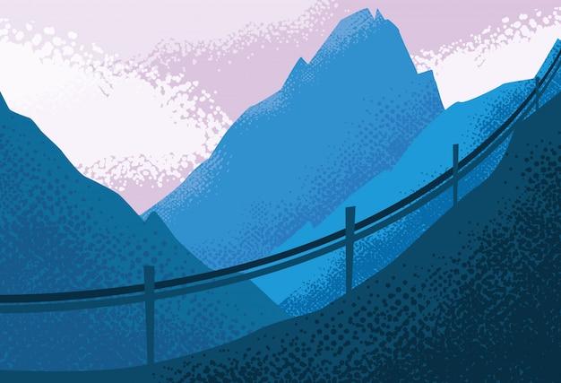Paysage nature paysage bleu Vecteur Premium