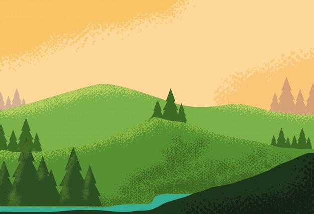 Paysage nature scène montagneuse Vecteur Premium