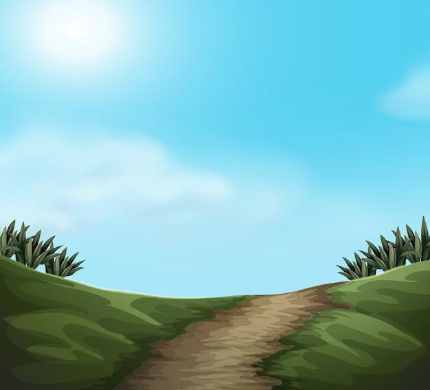 Un paysage de nature verte Vecteur gratuit