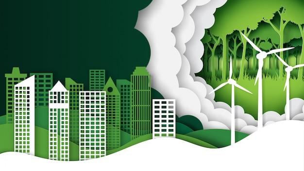 Paysage de nature verte Vecteur Premium