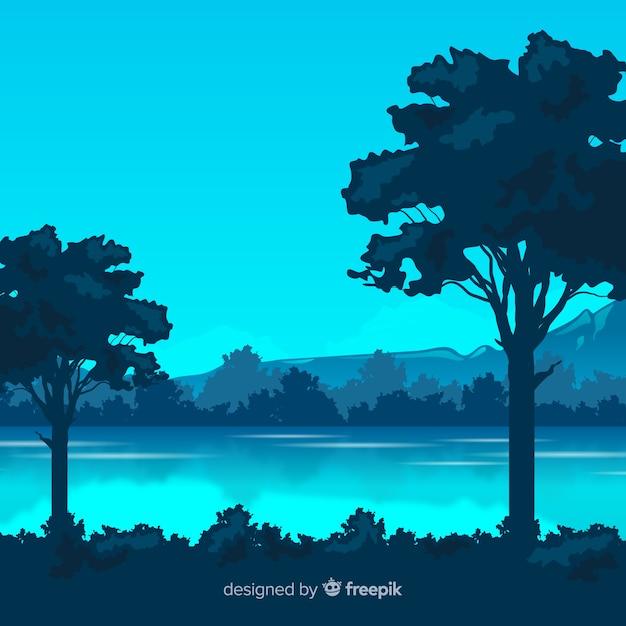 Paysage naturel avec arbres Vecteur gratuit