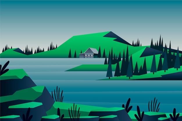 Paysage Naturel - Arrière-plan Pour La Vidéoconférence Vecteur gratuit