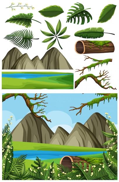 Paysage naturel de lac et de montagne Vecteur Premium