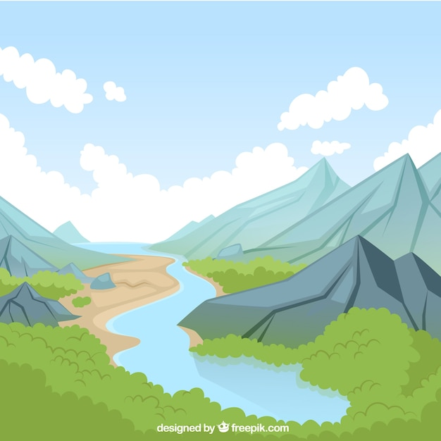 Paysage naturel avec rivière Vecteur gratuit