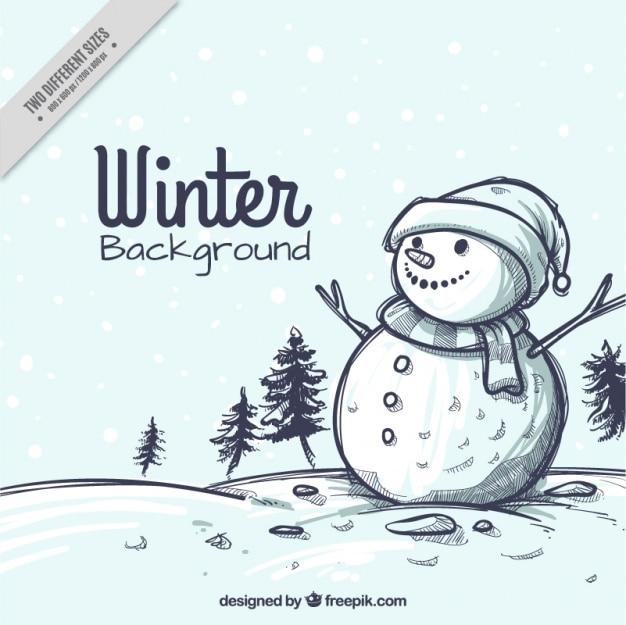 Paysage de neige noël croquis fond avec bonhomme de neige Vecteur gratuit