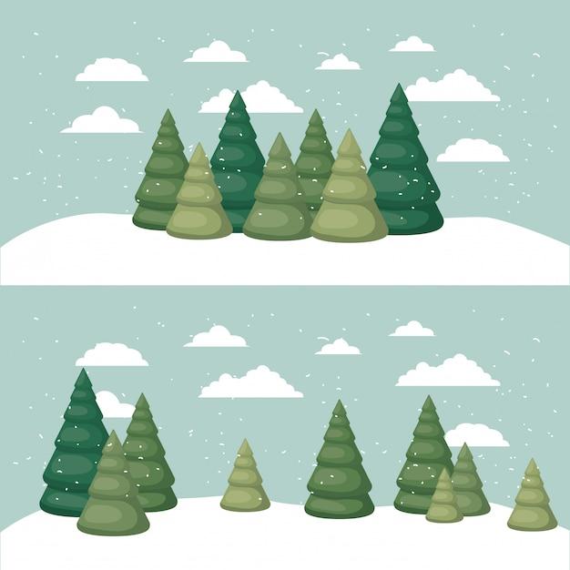 Paysage de neige avec scène de pins Vecteur Premium
