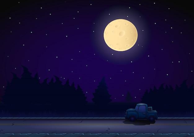 Paysage nocturne de dessin animé Vecteur Premium