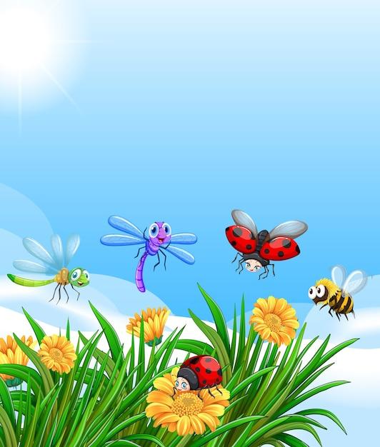 Paysage Avec De Nombreux Insectes Différents Vecteur Premium