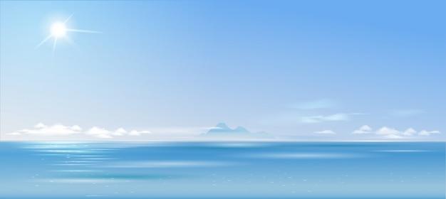 Paysage nuageux sur la mer et Vecteur Premium