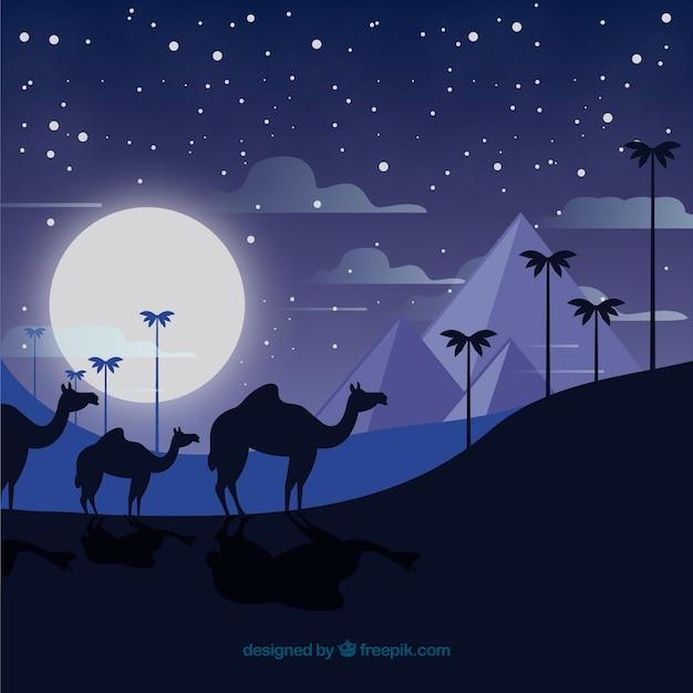 Paysage de nuit de l'egypte avec la caravane et les pyramides Vecteur gratuit