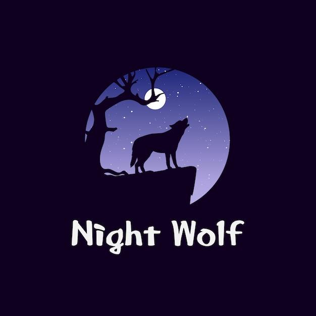 Paysage de nuit en forêt avec le loup sur le rocher. chien sauvage hurlant devant la lune Vecteur Premium