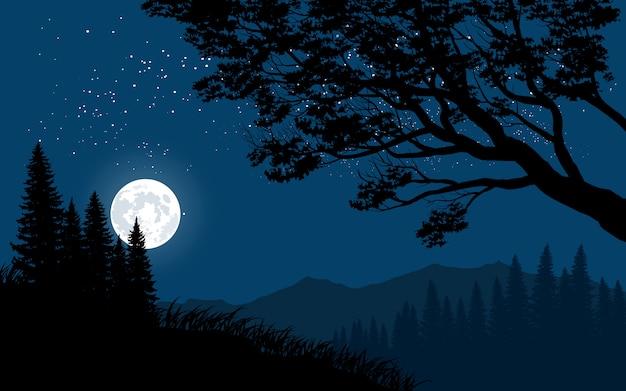 Paysage de nuit en montagne avec la pleine lune Vecteur Premium