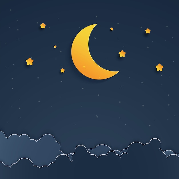 Paysage de nuit paysage Vecteur Premium