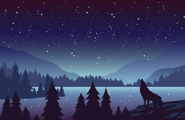 Paysage De Nuit Avec Sapins Et Collines à L'horizon. Loup Hurlant à La Pleine Lune. étoiles Dans Le Ciel. Vecteur Premium