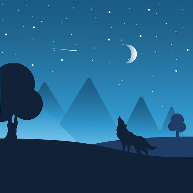 Paysage de nuit avec des silhouettes de collines, de loups, de forêts et de ciel nocturne magnifique avec les étoiles et la lune. Vecteur Premium