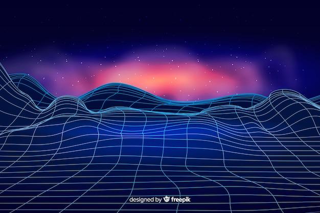Paysage numérique abstrait avec fond de particules Vecteur gratuit