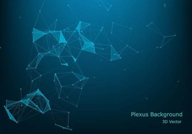 Paysage numérique futuriste abstraite de vecteur avec particules points et étoiles sur l'horizon. Vecteur Premium