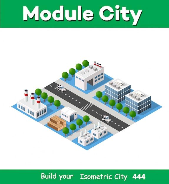 Paysage d'objets industriels, usines, parkings Vecteur Premium